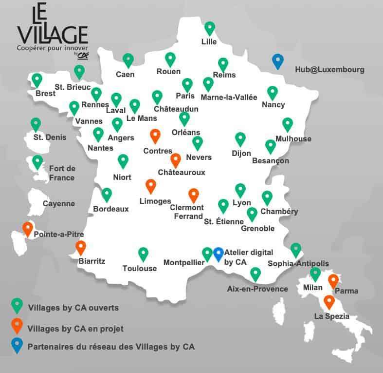 Carte des villages by CA en France